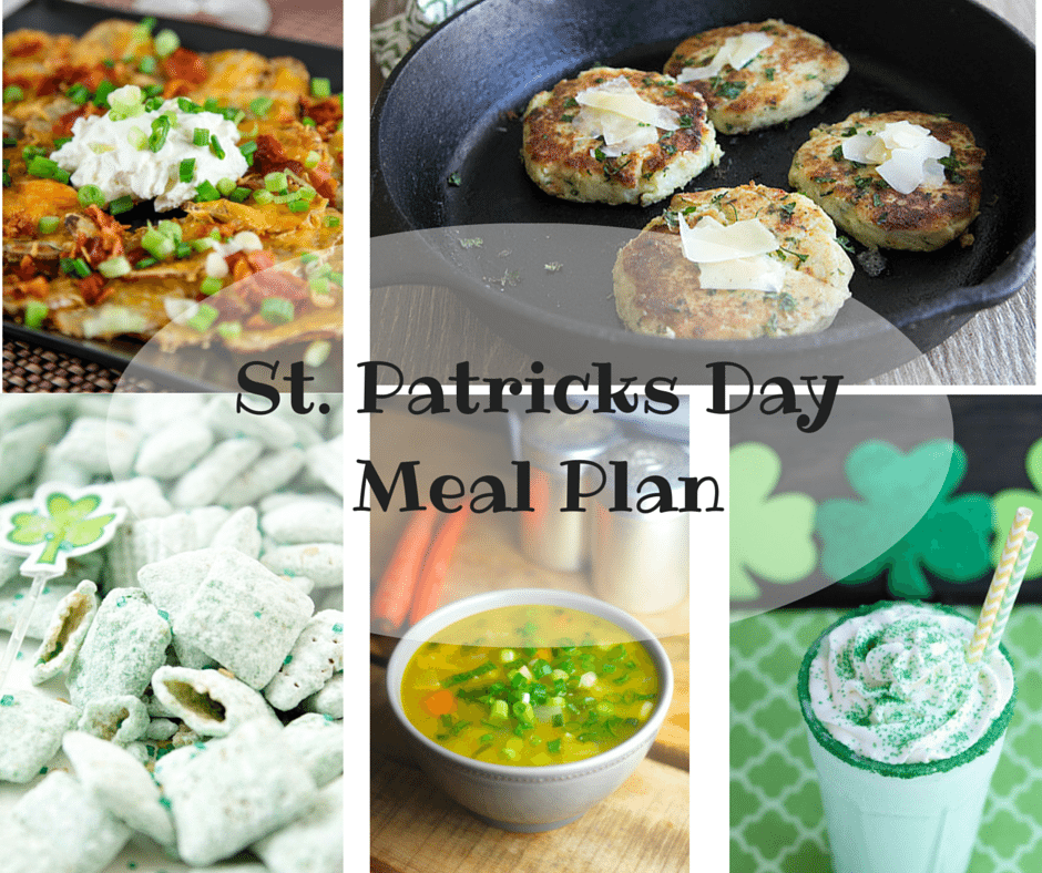 St. Patricks Day Meal Plan, Mom and Kid Approved, Fruit Rainbows, Shamrock Shakes, Mostly Gluten Free, Irish Nachos, Potato Cakes, and Green Puppy Chow - Yes, Please..