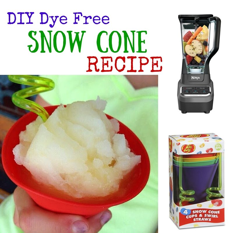 DIY Dye Free- Homemade Snow Cone Recipe - gluten and dairy free too!