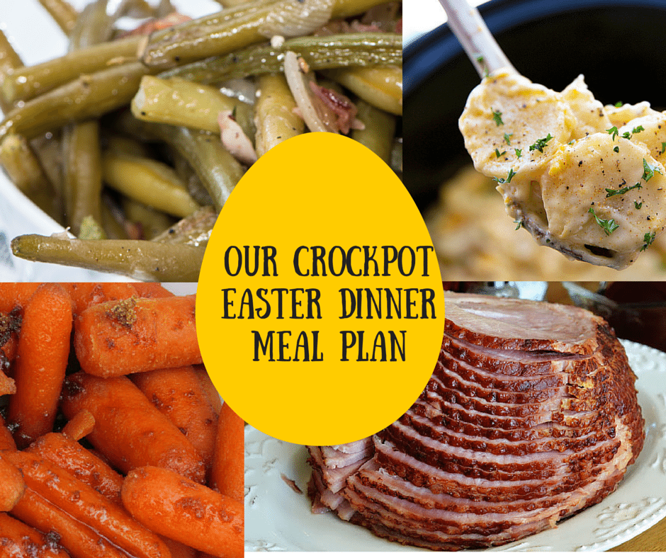 The Best Crockpot Easter Dinner Meal Plan Round Up-maple-brown-sugar-ham-crockpot-green beans- corn dip- homemade apple sauce- home cooking goodness with less time in the kitchen